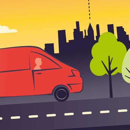 Illustration d'un camion de livraison sur la route